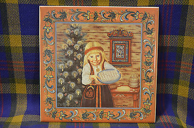 """Adorable LEFSE GIRL 6"""" Ceramic Tile by BERGQUIST IMPORTS Cloquet, MN"""