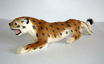 Vintage taxidermy-style Leopard with real hair - GROWL!!