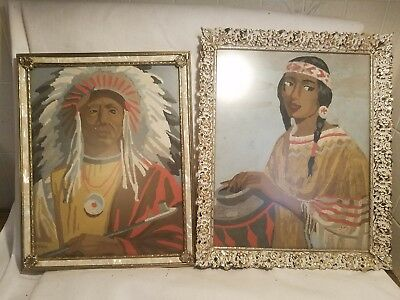Pair Vintage Paint By Number Paintings of Native American Indian Woman Chief