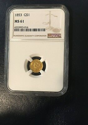 1853 G$1 Gold Dollar (Graded by NGC/MS 61) Beautiful coin!!!!!!!