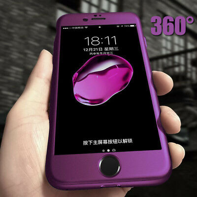 360° Full Body Hybrid Hard Case Cover +Tempered Glass For iPhone 8 7 Plus Xs Max