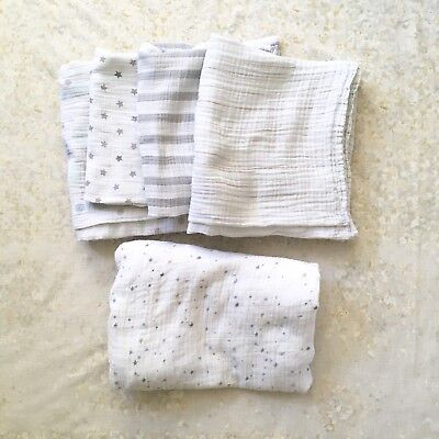 Aden and Anais Lot of 5 Items: 4 Swaddle Blankets 1 Fitted Sheet Unisex Muted