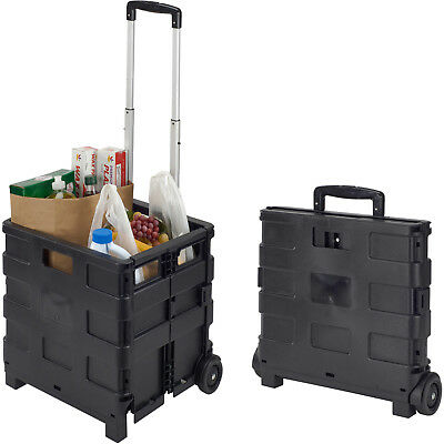 Collapsible Utility Cart Folding Rolling Plastic Trolley With Wheels Shopping