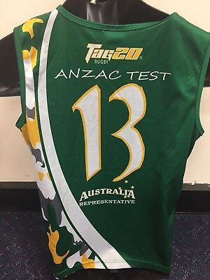 #13 Australian players rep tag rugby singlet MEDIUM oztag touch football