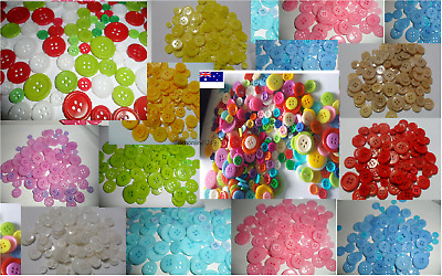 Buttons bulk 100 400 1000 Mix Craft sewing multi single colour 9~23mm school new