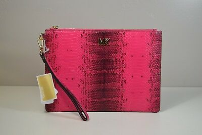 52a663a65c89 Nwt Michael Kors Ultra Pink Embossd Leather Medium Zip Pouch Wristlet Purse