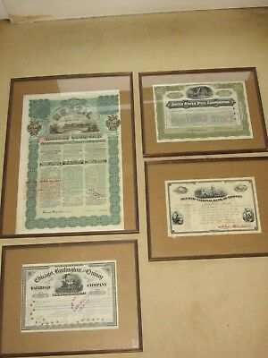 4 x alte Aktien,Brazil Railway,US Steel Corporation,2nd bank Boston,Chicago Text