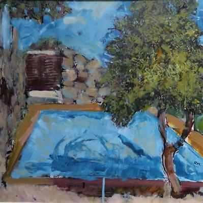 RORY MORRELL (1944-) signed ORIGINAL impressionist OIL PAINTING of Swimming Pool