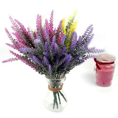 25 Heads Artificial Flowers Lavender Fake Bridal Bunch Wedding Party Home Decor