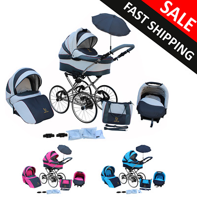 Baby pram Pushchair and Stroller Buggy Classic Retro 3in1 Travel system car seat