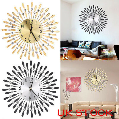 Stylish Clear Diamante Beaded Jeweled Sunburst Round Metal Wall Clock Time 38CM