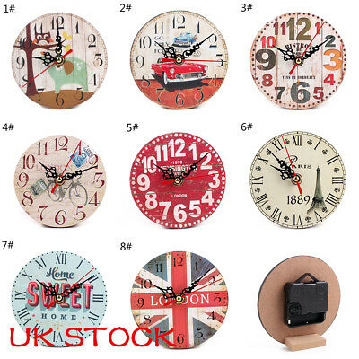 Large Vintage Wooden Wall Clock Shabby Chic Rustic Kitchen Home Antique Style UK
