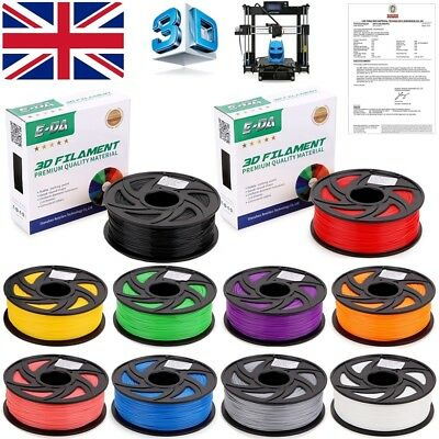 E-DA Premium 3D Printer Filament 1.75mm PLA ABS 1KG 340M 400M Colour Engineer UK