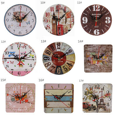 Vintage Wooden Desk Wall Clock Shabby Chic Rustic Kitchen Home Antique Style RR
