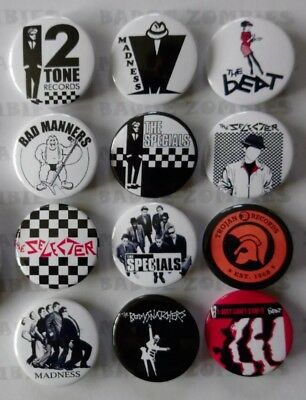 2 TONE SKA SET OF 12x 25MM BADGES SPECIALS MADNESS THE BEAT TROJAN SELECTER