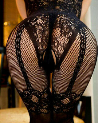 Sexy fishnet lingerie floral bodystocking open crotch bodysuit UK seller