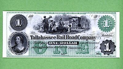 $1 Florida Tallahassee RR Co Note Dollar Obsolete Currency Gem Crisp Unc Reprint