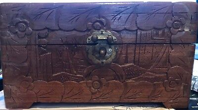 Hand carved Antique wooden box in excellent condition