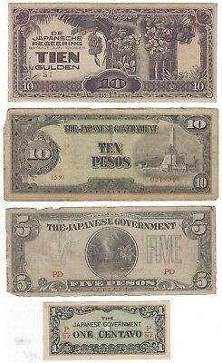 Lot 4 different WW2 Japanese Invasion Money Notes Dutch East Indies Philippines