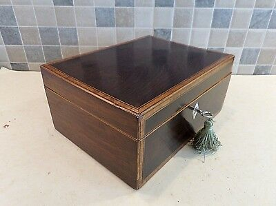 VICTORIAN 19thC INLAID ROSEWOOD BOX WITH RELINED INTERIOR - GOOD LOCK & KEY