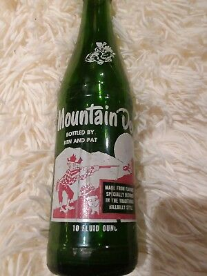 """BOTTLED BY KEN AND PAT"" Vintage Mountain Dew Bottle from the 60's 10 oz"