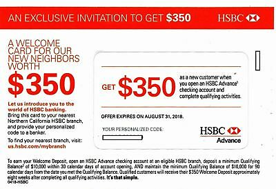 HSBC ~ ADVANCE ~ $350 Bonus Offer Advance Checking Account ~ Exp 8/31/18