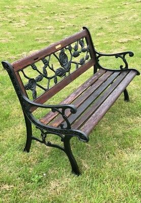 Exceptionnel Vintage Berkeley Forge U0026 Foundry Cast Iron Wooden Garden Bench With Rose  Design*