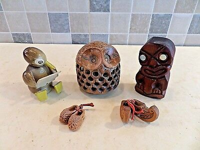A Collection Of Vintage Wooden Treen Items- Owl, Penguin, Tiki, Miniature Shoes