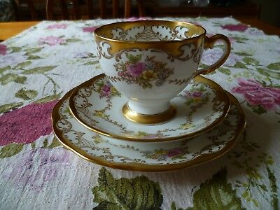 Lovely  Vintage Salisbury China Trio Tea Cup Saucer Floral Gilded 1558