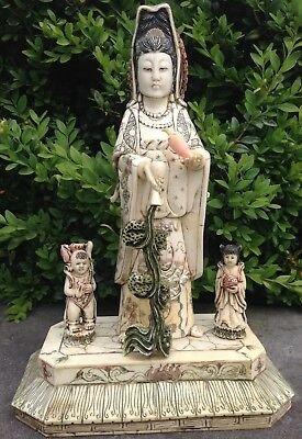 Antique Very Fine Ornate Sculpted Ivory Oriental Asian Art Buddha Statue 18thC