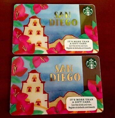 (2) Starbucks San Diego Card Mission  Gold Metallic Limited Edition Coffee Mint