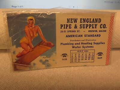 Very Nice 1951 Advertising Ink Blotter New England Pipe & Supply Co. Brewer, Me