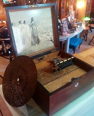 Antique music box, by Kalliope, timbro variant model, great case