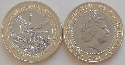 Falkland Islands £2 Coin 2014 two pound Battle Falklands HMS GLASGOW BUNC