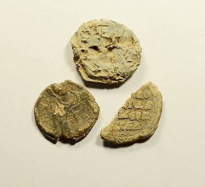 Ancient Byzantine Period Lead Seal Fragments - Lot Of 3