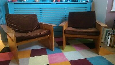 Retro 1960's Original Design Belgium Plywood Chairs Hammock Style