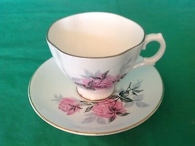 Bone China Cup & Saucer Marked N With Crown Pink Roses Gold Trim