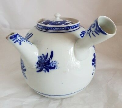 A Japanese blue and white porcelain Tea pot .Late  C19th . Meiji period