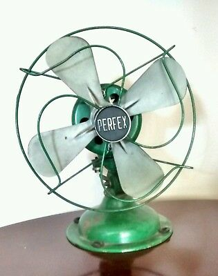***vintage Perfex Green Fan***    No Reserve     5 Day Listing