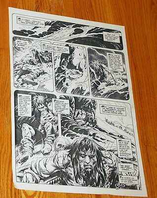 B&W Stat proof art 14.5 X 19 Joe Kubert Tor #2 Page 38 Marvel Epic Comics