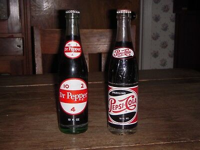 Vintage Dr Pepper & Pepsi Bottles Full 10 oz Bottles!!!!!!!!(NICE)!!!!!!!!!!!!!