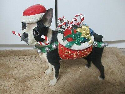 Danbury Mint Christmas Boston Terrier ~ Retired