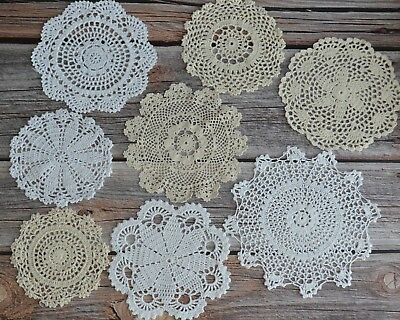8 Crochet Round Doilies Lot in bulk Rustic Wedding Coasters Table Runners