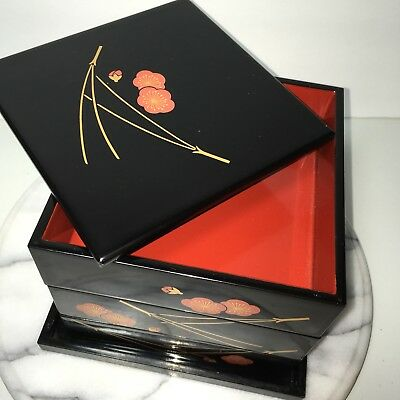 Japanese Lacquer Ware Stacking Box Tray Jewelry Black Red Gold Floral Vintage