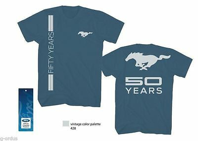 RARE NEW FORD MUSTANG 50th ANNIVERSARY T SHIRT IN BLUE SIZE MEDIUM LARGE OR XL!