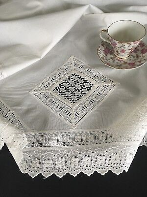 Antique Victorian Embroidered & Lace Crib Or Carriage Sheet