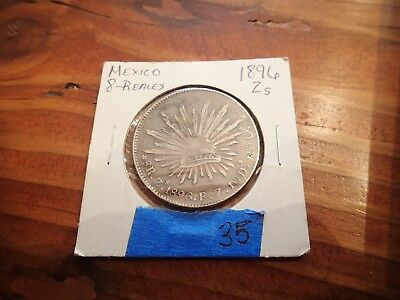 1896 Mexico 8 Reales, Zs,  large silver coin