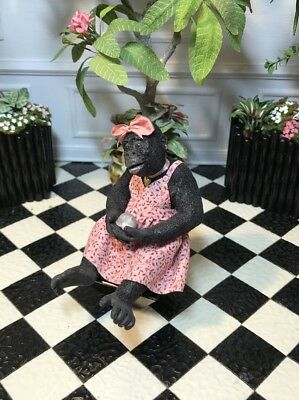 Dollhouse Miniature Artisan Hand Sculpted Dressed Mommy Gorilla (R)