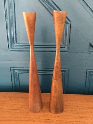 Mid Century Modern Teak Wooden Candlesticks Candle Holders retro vintage