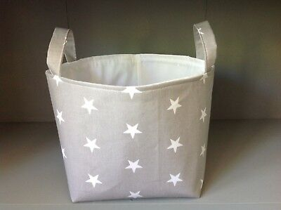 Spacious Nursery Storage Basket Tub with handles - Grey and white stars